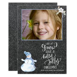 Foto branca azul do boneco de neve do quadro do convite 12.7 x 17.78cm
