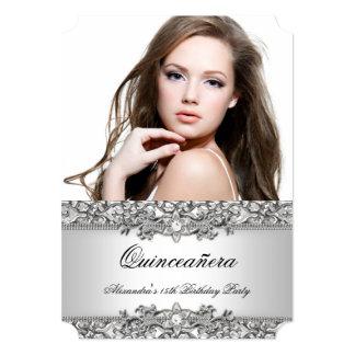Foto branca de prata elegante 2 do diamante de convite 12.7 x 17.78cm