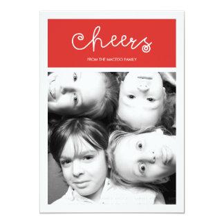 Foto branca vermelha do feriado dos elogios do convite 12.7 x 17.78cm