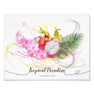 Foto Caligrafia tropical da fruta do dragão e da
