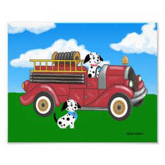 Foto Carro de bombeiros com impressão de Dalmations
