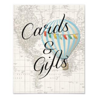 Foto Cartões e balão de ar quente do chá de fraldas do