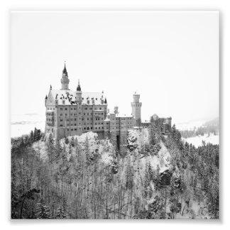 Foto Castelo preto e branco de Neuschwanstein no
