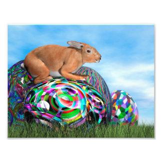 Foto Coelho em seu ovo colorido para a páscoa - 3D