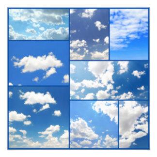 Foto Colagem dos céus azuis & das nuvens do branco