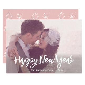 Foto cor-de-rosa do ano novo dos convite 12.7 x 17.78cm