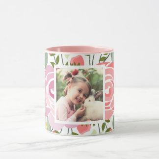 Foto cor-de-rosa dos rosas caneca
