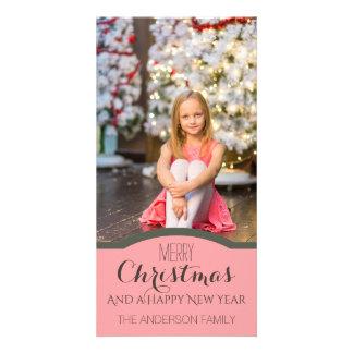 Foto cor-de-rosa limpa simples do feriado do Natal Cartão Com Foto