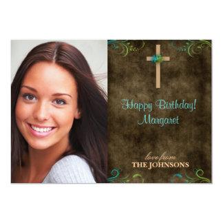 Foto cristã da festa de aniversário eu posso fazer convite 12.7 x 17.78cm