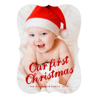 Foto Cursive do feriado do primeiro Natal do bebê Convite 12.7 X 17.78cm