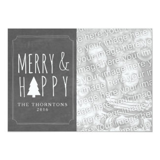 Foto da árvore de Natal alegre & feliz - quadro Convite 12.7 X 17.78cm