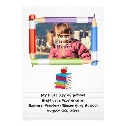Foto da escola dos miúdos das crianças personaliza convites personalizados
