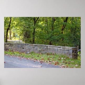 Foto da parede de pedra pôster