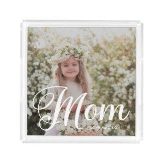 Foto da tipografia da mamã e bandeja à moda do