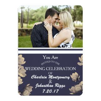 Foto das magnólias do sul & casamento azul da convite 12.7 x 17.78cm