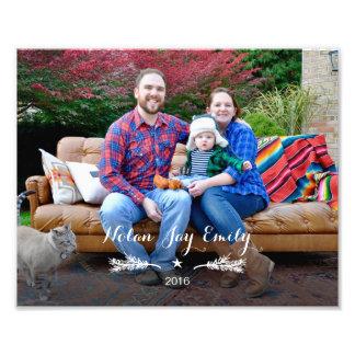 Foto de família com ramo & estrela do pinho do ano