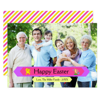 Foto de família do felz pascoa - cartão de páscoa