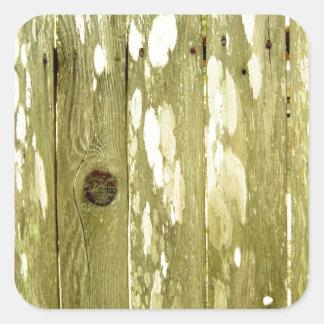 Foto de madeira amarela da textura da cerca adesivo quadrado
