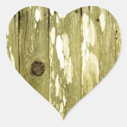 Foto de madeira amarela da textura da cerca adesivo de coração