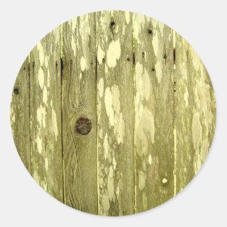 Foto de madeira amarela da textura da cerca adesivo redondo