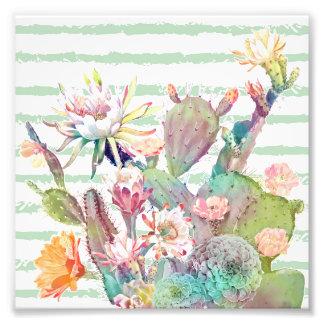 Foto Design do cacto, o floral e das listras da