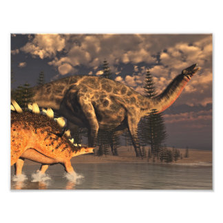 Foto Dinossauros do Dicraeosaurus e do kentrosaurus -