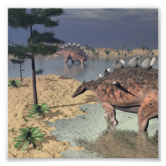 Foto Dinossauros do Kentrosaurus no deserto - 3D rendem