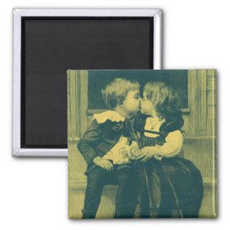 Foto do amor e romance do vintage, beijo das imã