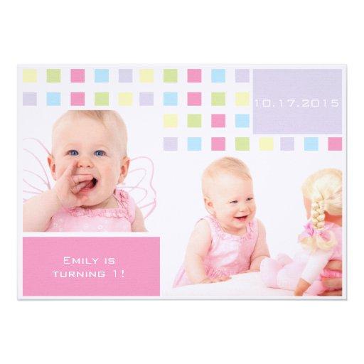 Foto do aniversário do bebê colorido primeira convites personalizados