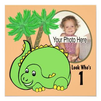 Foto do aniversário do dinossauro convites