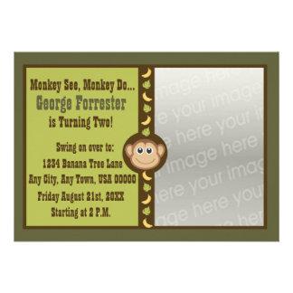 Foto do aniversário do macaco convites personalizados