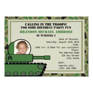Foto do aniversário do partido do tanque convite 12.7 x 17.78cm