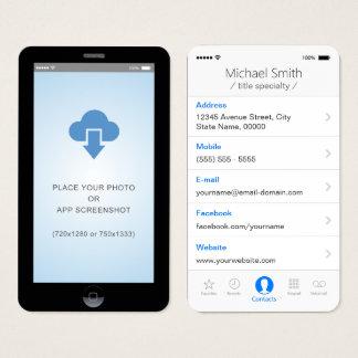 foto do App Screenshot do estilo do iOS do iPhone Cartão De Visitas