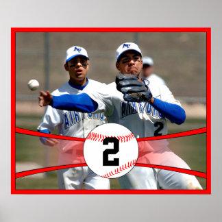 Foto do basebol vermelho e poster feitos sob