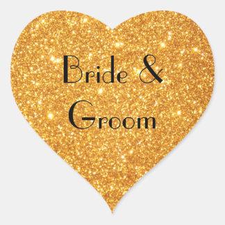 Foto do brilho do ouro do casamento dos noivos adesivo coração