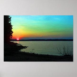 Foto do céu do arco-íris do por do sol da praia do poster