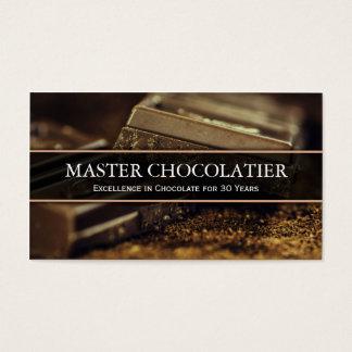 Foto do chocolate escuro, cartão de visita de
