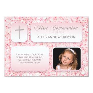 Foto do comunhão dos rosas cor-de-rosa primeira convite 12.7 x 17.78cm