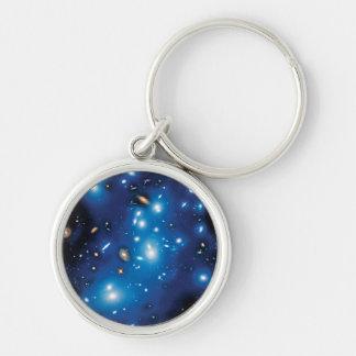 Foto do espaço do conjunto da galáxia de Abell Chaveiro Redondo Na Cor Prata