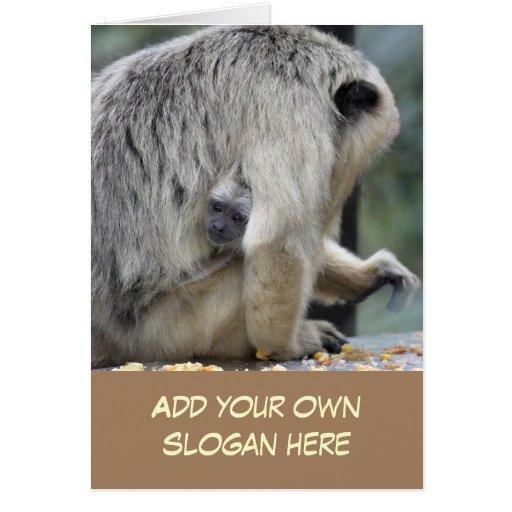 Foto do Gibbon do bebê para personalizar-se Cartoes