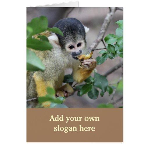 Foto do macaco de esquilo para personalizar-se cartões