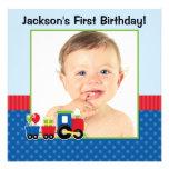 Foto do menino do primeiro aniversario das bolinha convites