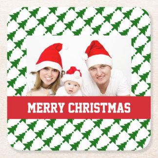 Foto do Natal da família Porta-copo De Papel Quadrado