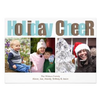 Foto do Natal da folha de prova do marrom azul do  Convites Personalizado