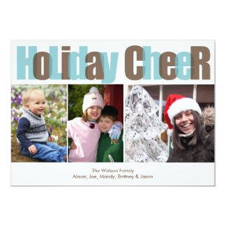 Foto do Natal da folha de prova do marrom azul do Convite 12.7 X 17.78cm