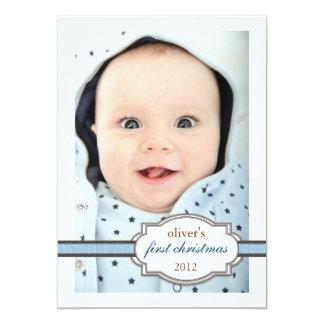 Foto do Natal do bebê primeira com o azul da fita Convite Personalizados