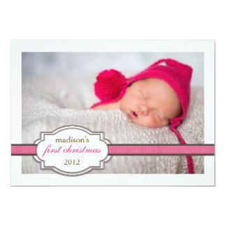 Foto do Natal do bebê primeira com rosa da fita do Convite 12.7 X 17.78cm