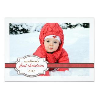 Foto do Natal do bebê primeira com vermelho da Convite 12.7 X 17.78cm