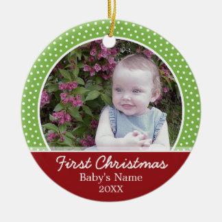 Foto do Natal do bebê primeira - o solteiro tomou Ornamento De Cerâmica