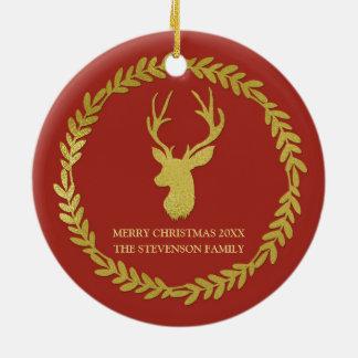 Foto do Natal dos cervos da grinalda do verde do Ornamento De Cerâmica